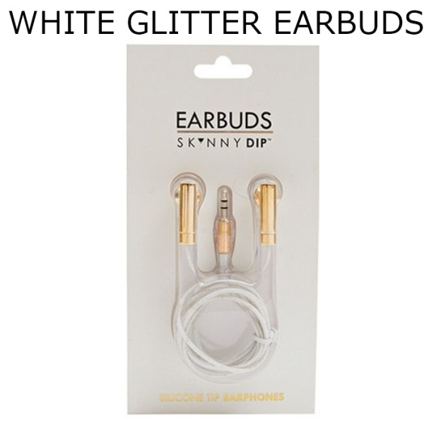 WHITE GLITTER EARBUDS1