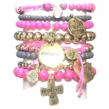s313 Pop gold bracelet set pink21