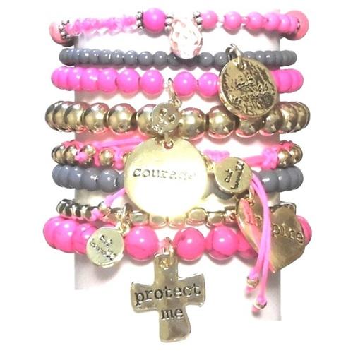s313 Pop gold bracelet set pink21