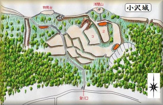 小沢城址縄張り図