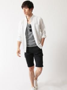 リネンシャツ×ハーフパンツ メンズ