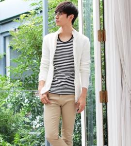 白のアウター メンズファッション