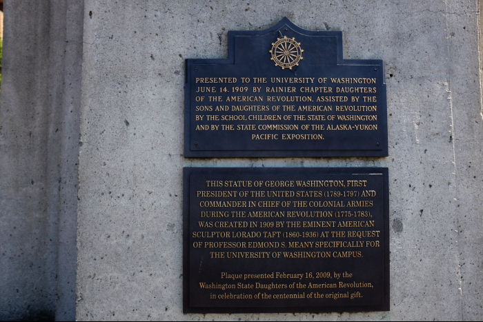 シアトル ワシントン大学 ワシントン像台座プレート 201608