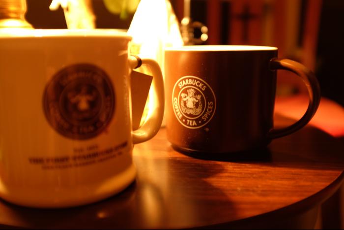 スターバックスコーヒー 1号店 マグカップ 白&茶 1