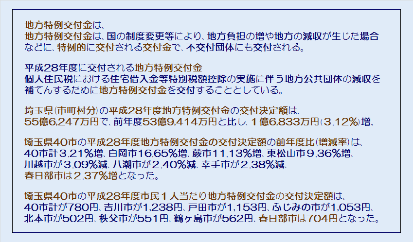 埼玉県40市平成28年度地方特例交付金の交付決定額・コメント2