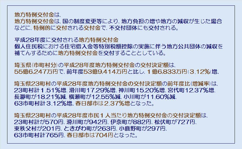 埼玉県23町村平成28年度地方特例交付金の交付決定額・コメント2