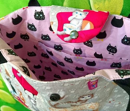 舞猫バッグポップコーン猫内側