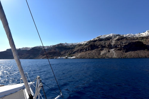 Approaching to Oia shore