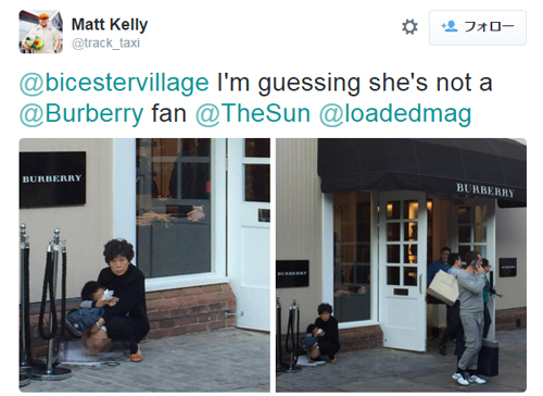 2015年10月、イギリスの有名ブランド「バーバリー」の店の前で、子供にウンコをさせている支那人