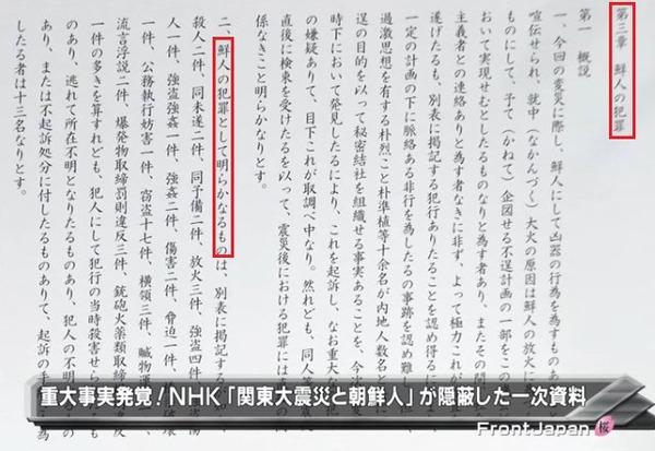 NHK「関東大震災と朝鮮人」は、東大教授・鈴木淳が発掘した司法省の資料を元に作成されたが、第二章「鮮人犯行の流言」と第四章「鮮人を殺傷したる事犯」のみを使用し、第三章「鮮人の犯罪」を丸ごと省いたため、恰