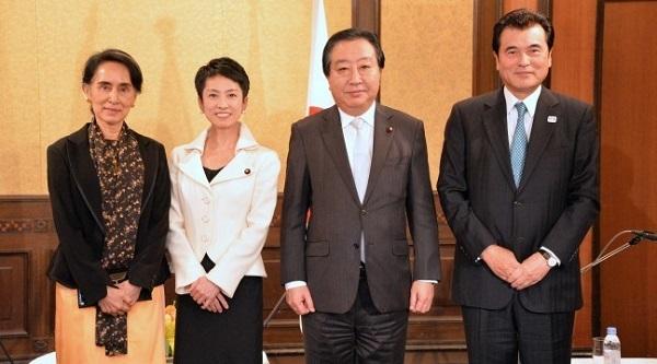 蓮舫、スー・チー氏が会談 「ミャンマーの発展支援」