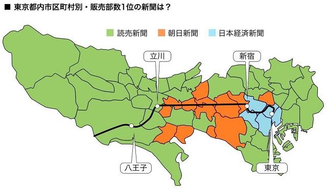 中央線沿線は朝日新聞がもっとも読まれている地域が多い(フリーライターの小林拓矢の調査データを元に東洋経済が作成)