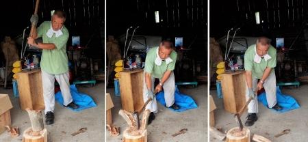 16-7-10手斧で薪割り