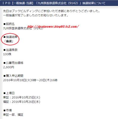 エイチ・エス証券JR九州IPO当選