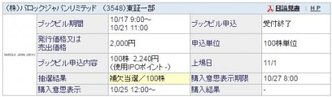 バロックジャパンリミテッド(3548)IPO当選?