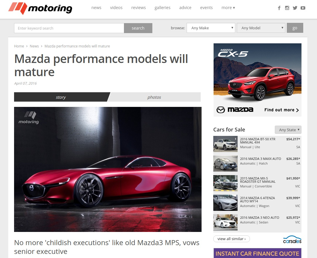 Mazda performance models will mature motoring