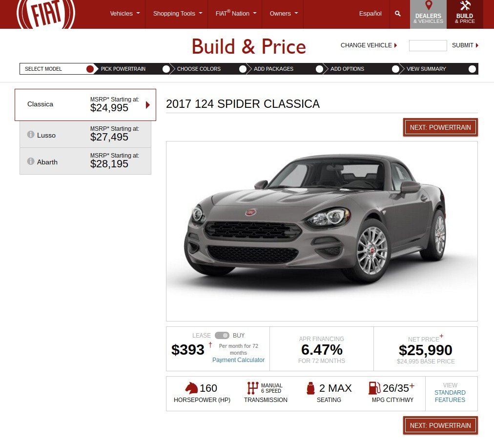 FIAT Build Price 124spider