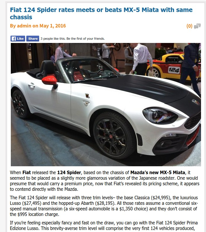 Fiat 124 Spider rates meets or beats MX 5 Miata with same chassis Luxury Car News Sports Cars Prices at Speedluxcom