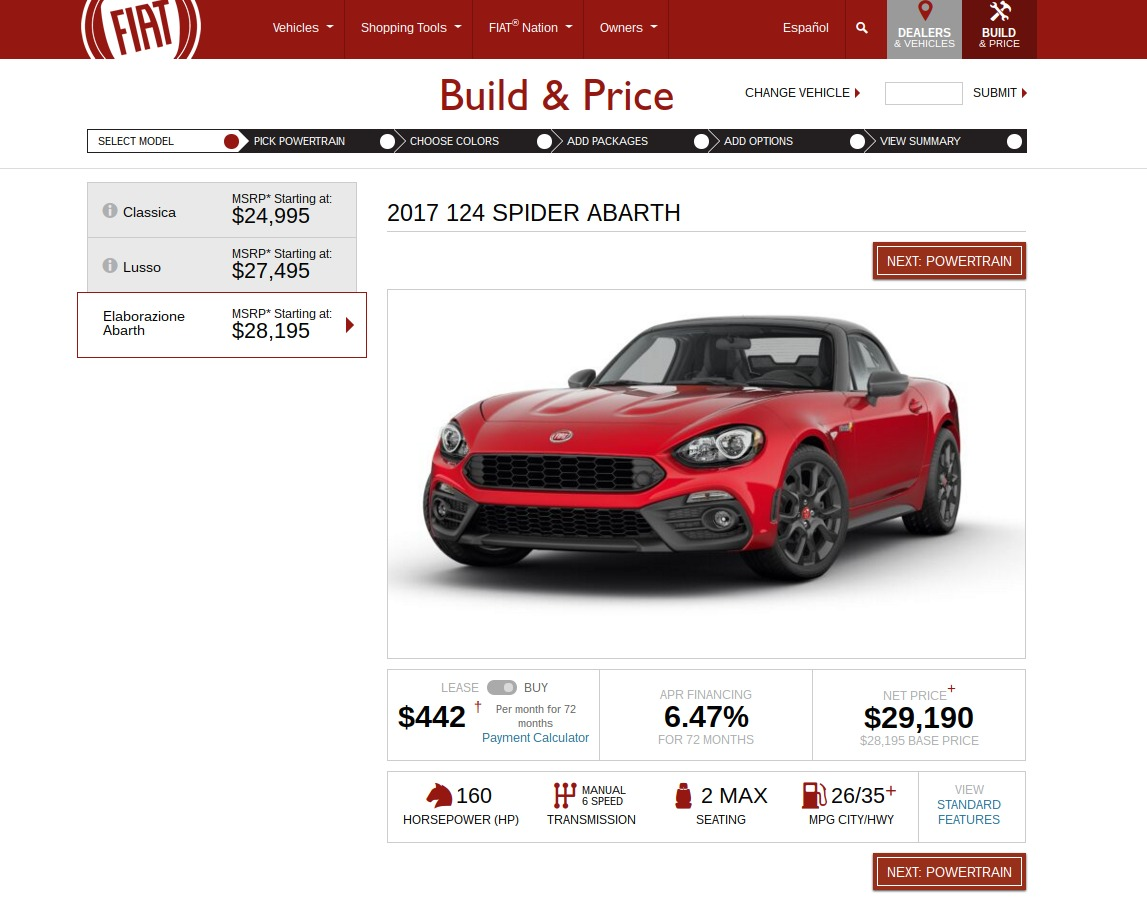 FIAT Build Price Select Model