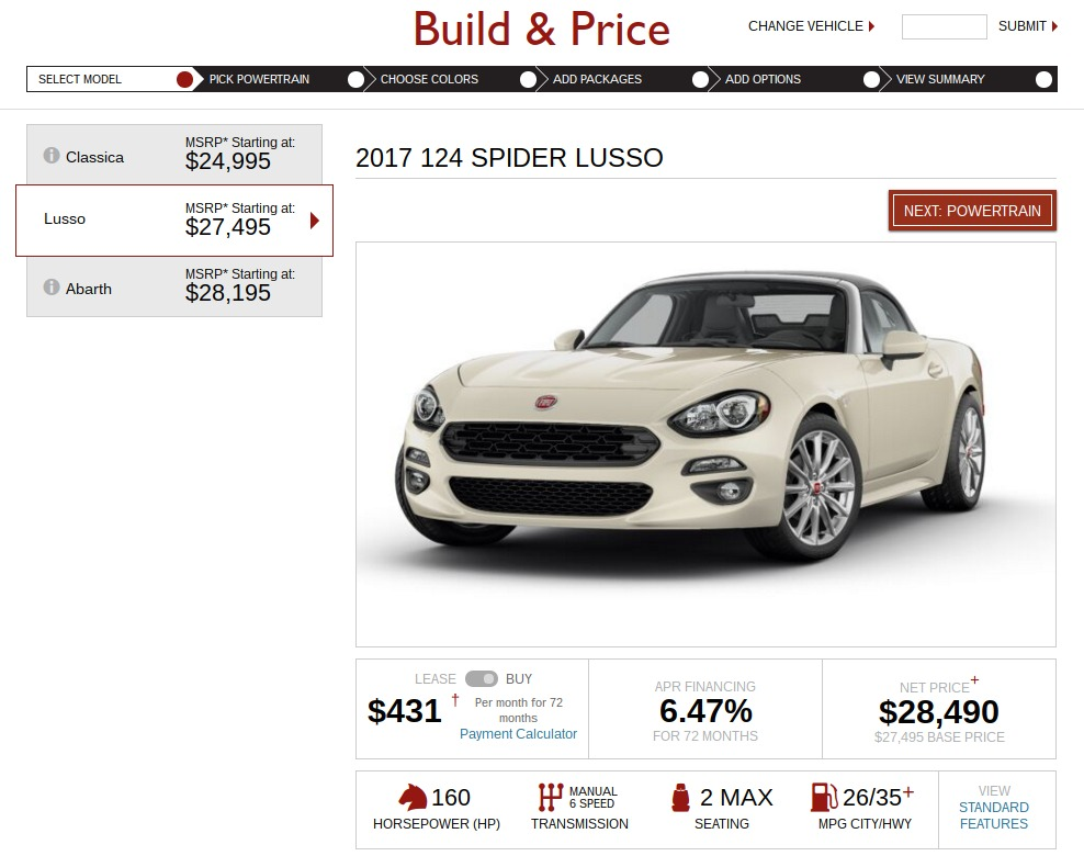 FIAT Build Price lusso