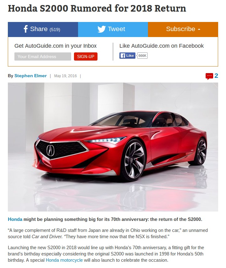 Honda S2000 Rumored for 2018 Return AutoGuide News