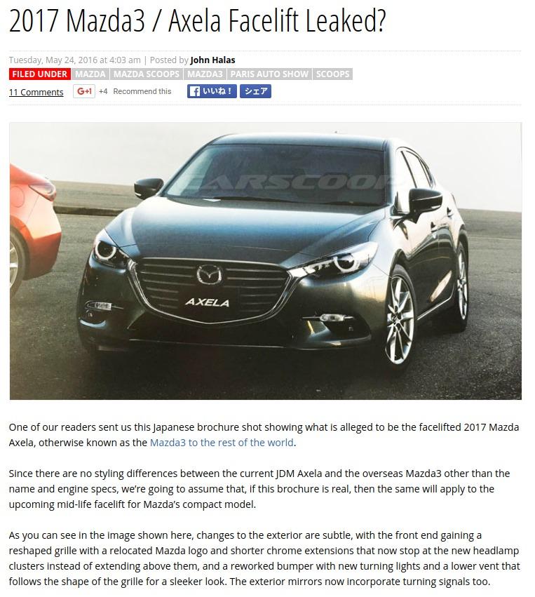 2017 Mazda3 Axela Facelift Leaked