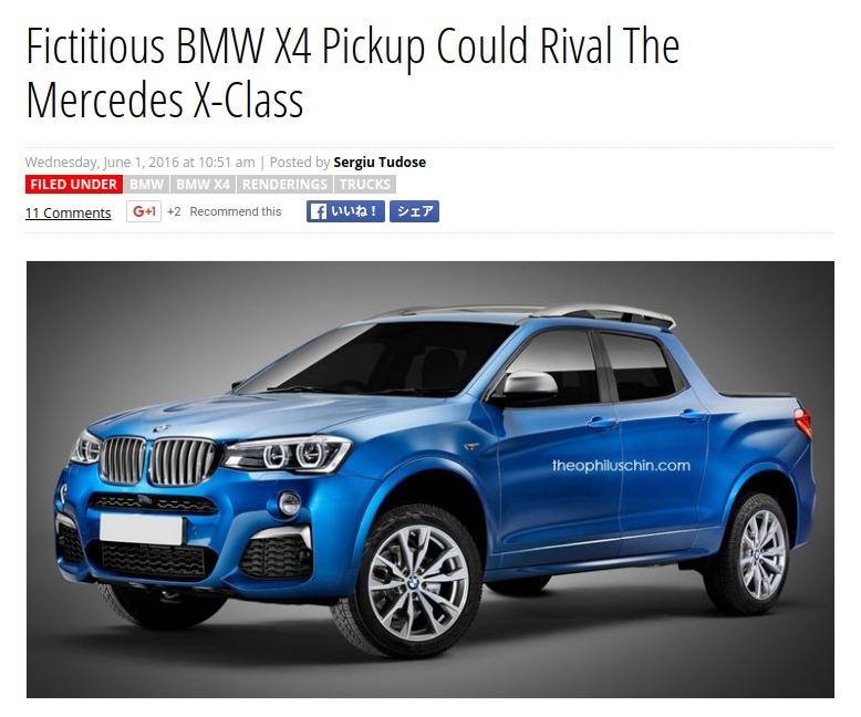 Fictitious BMW X4 Pickup Could Rival The Mercedes X Class