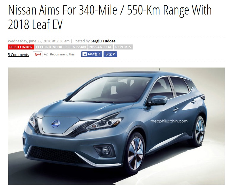 Nissan Aims For 340 Mile 550 Km Range With 2018 Leaf EV