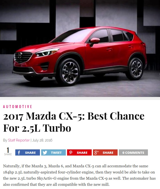 2017 Mazda CX 5 Best Chance For 25L Turbo – DailySun