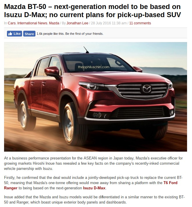 Mazda BT 50 – next generation model to be based on Isuzu D Max no current plans for pick up based SUV