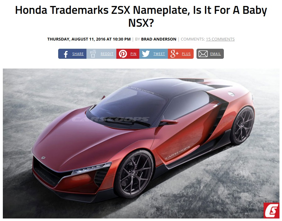 Honda Trademarks ZSX Nameplate Is It For A Baby NSX