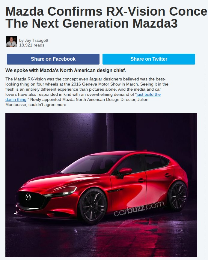 Mazda Confirms RX Vision Concept Will Inspire The Next Generation Mazda3