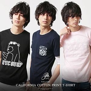 カリフォルニアコットン メンズ プリントTシャツ 半袖