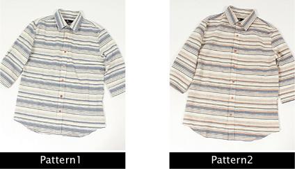 綿麻 ランダムボーダー メンズ シャツ 話題2