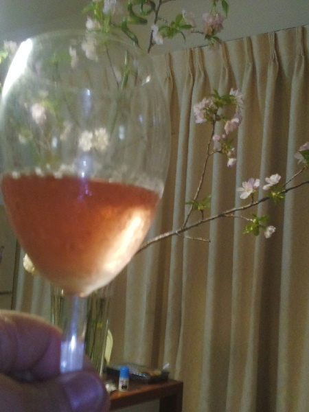 キュヴェ・SAKURAワイン グラスと桜