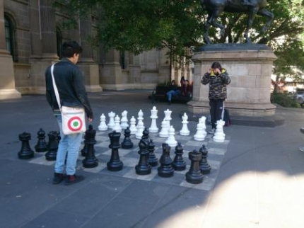 外で大きなチェス
