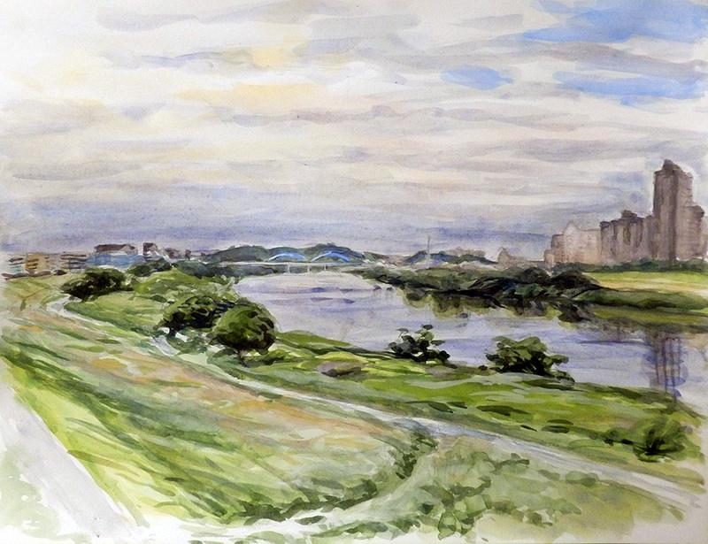 川岸の風景、夏真昼