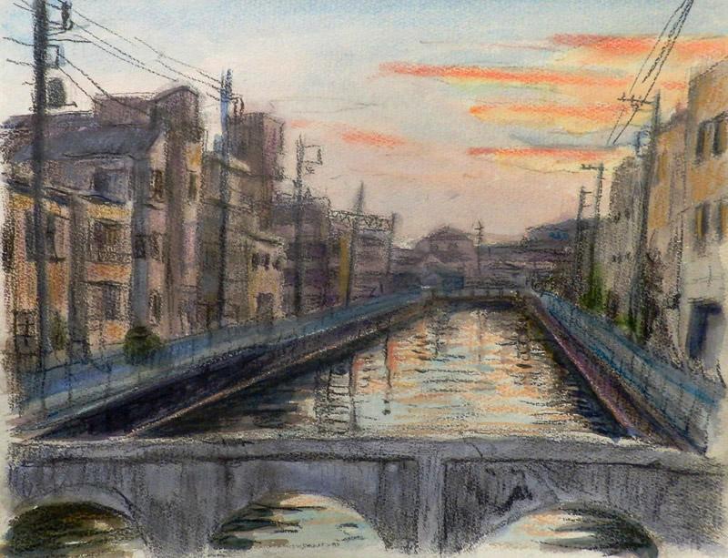 放水路の夕景