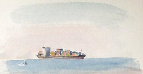 浦賀水道をゆく船-1