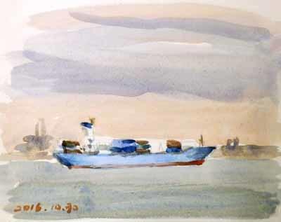 東京湾をゆく船-1
