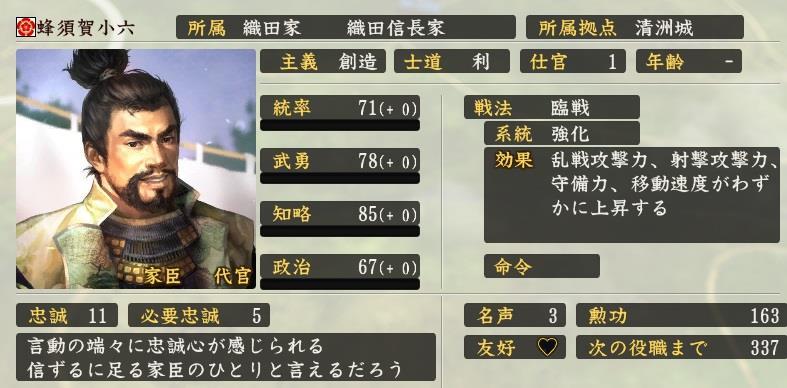 信長の野望創造戦国立志伝 蜂須賀小六能力