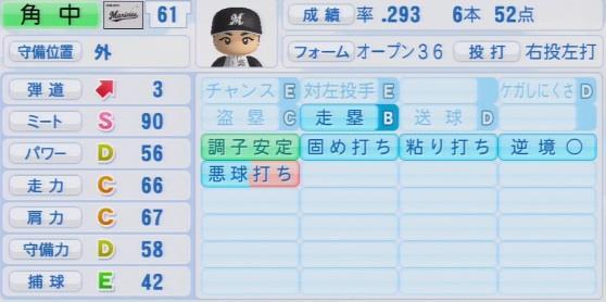実況パワフルプロ野球2016ver1.03角中勝也 パワプロ2016