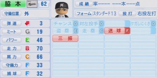 実況パワフルプロ野球2016ver1.03脇本直人パワプロ2016