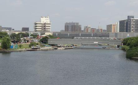 東大島駅ホーム下の水域に