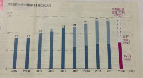 イオン 最近の年間配当金の推移