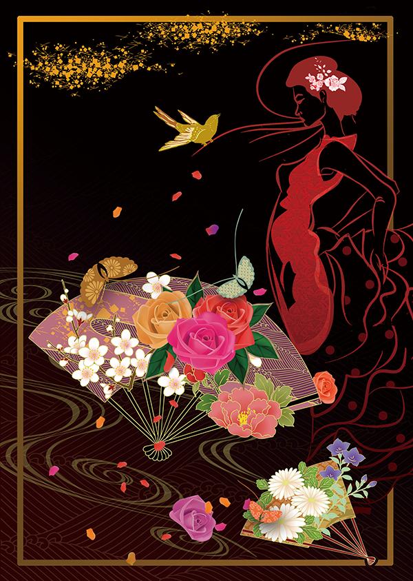 薔薇扇と蝶