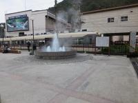 宇奈月温泉駅前の温泉噴水