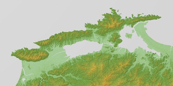Shimane_Peninsula_Relief_Map,_SRTM-1