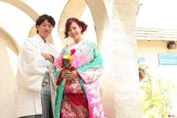 ウエディングフォト婚礼写真結婚s1着色打掛外ロケーションガーデン
