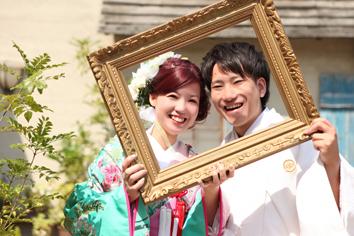 ウエディングフォト婚礼写真結婚s1着色打掛外ロケーションガーデンフレーム